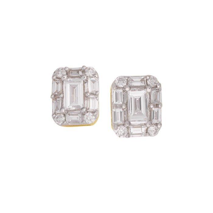 ID-102OK-24 gouden oorknoppen met diamant