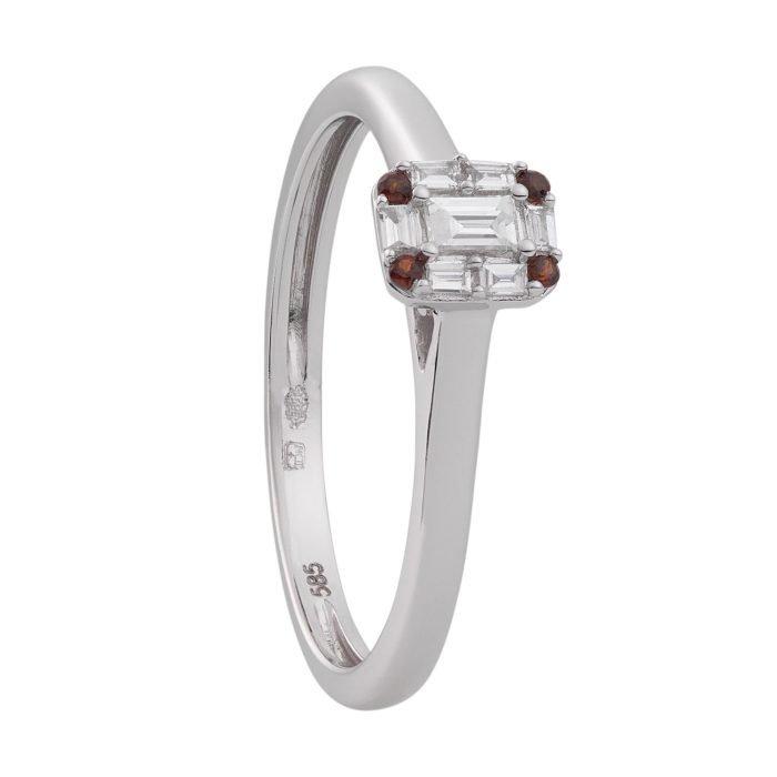 ID-103R-7 gouden ring meet diamant en granaar