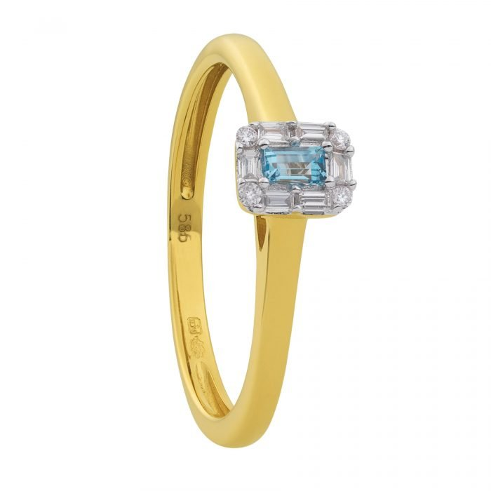 ID-104R-7 gouden ring met diamant en topaas
