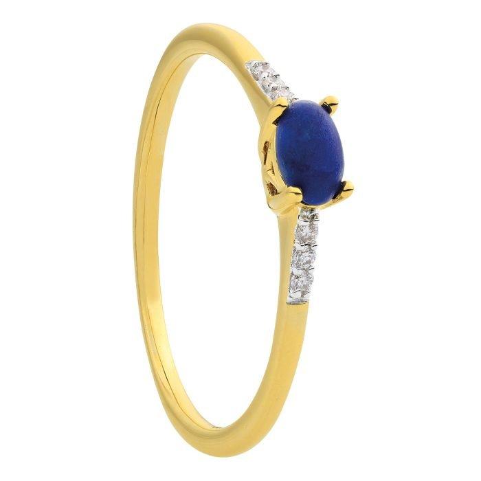 ID-112R-3 geelgouden ring met lapis