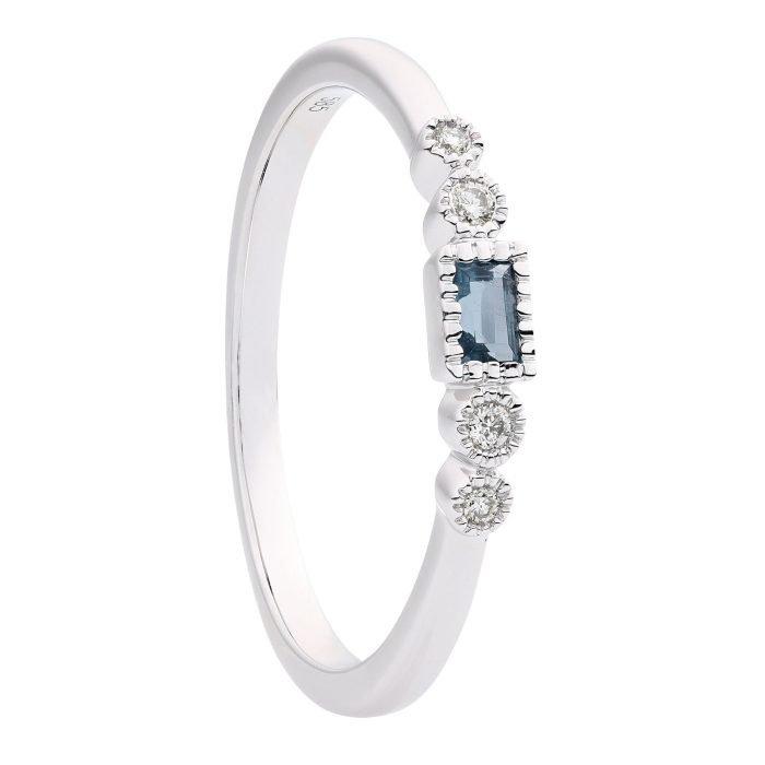 ID-122R-4 gouden ring met diamant en london blauw topaas