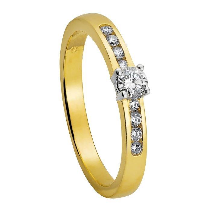 ID-1R-40 gouden ring met 0,40 crt. diamant