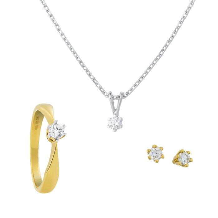 ID-76 Set gouden sieraden met diamant