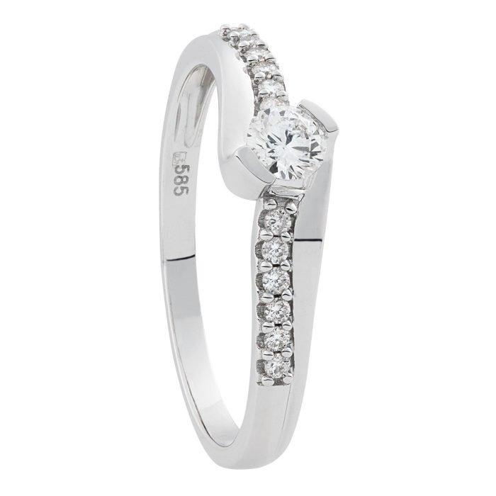 ID-78R-25 gouden ring met 0,25 crt. diamant