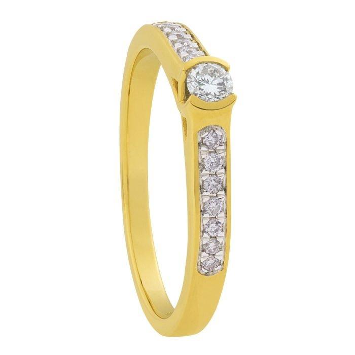 ID-80R-20 gouden ring met 0,80 crt. diamant