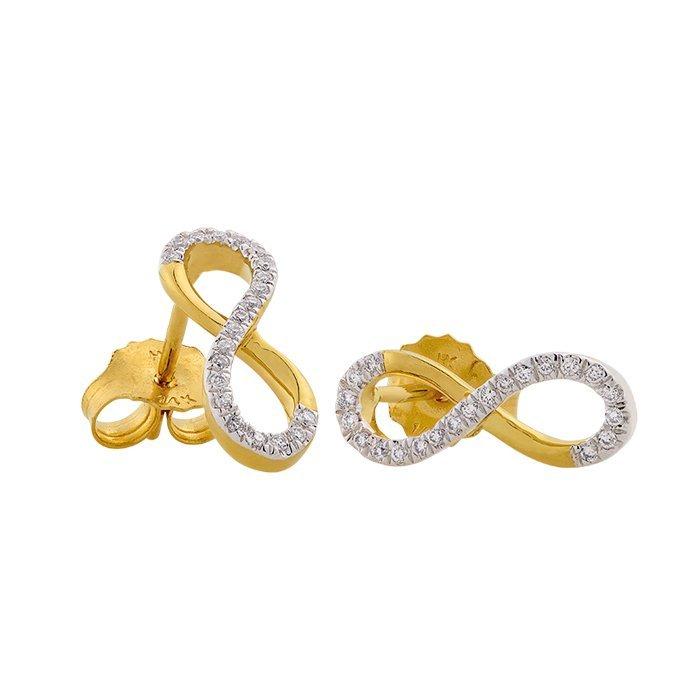 Gouden oorknoppen met diamant